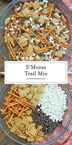 S'mores Trail Mix uses just 5 ingredient to make a sweet, salty and crunchy snack that is perfect for on-the-go and anytime of day! rezepte selber machen mix mix bar mix bar wedding mix recipes mix recipes for kids Trail Mix Recipes, Snack Mix Recipes, Gourmet Recipes, Dessert Recipes, Snack Mixes, Halloween Trail Mix Recipe, Cooking Recipes, Salty Snacks, Desserts