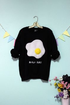 Fried Egg Tamagoyaki Sweatshirt Fluffy or Holographic With or Without Japanese XS-5X Plus Size Sweatshirt Sweater