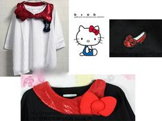 Hello Kitty shirt with a ribbon, get it at Rakuten Global Market