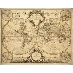 Old world map restoration hardware style giant historic 1720 world world map lisles 1720 old historic map antique restoration hardware style world map guillaume gumiabroncs Image collections