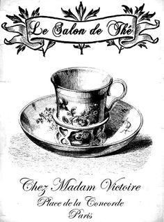 """""""Le Salon de The Chez Madam Victorie, Plaza de la Concorde, Paris"""" cup and saucer graphic"""