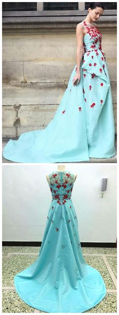 Blue Wedding Dress,Satin Wedding Dress with Sweep Train,Sleeveless Wedding Dress With Appliques,A-line Scoop Bridal Dress