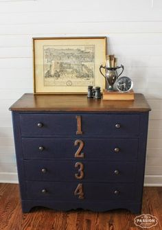 My Passion For Decor: Theme Furniture Day...The Inspired By Dresser Refurbished Furniture, Paint Furniture, Repurposed Furniture, Furniture Projects, Furniture Making, Furniture Makeover, Dresser Makeovers, Blue Furniture, Trunk Makeover