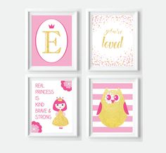 Personalized Pink and Gold Nursery Decor - Owl Princess Letter Print Bundle  - instant download by VigiCreativeStudio on Etsy