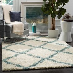 Dallas Shag Ivory/Light Blue 4 ft. x 6 ft. Area Rug