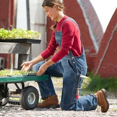 Flex denim overalls with knee pad inserts from Duluth Trading Co.  Great for a full day of gardening..