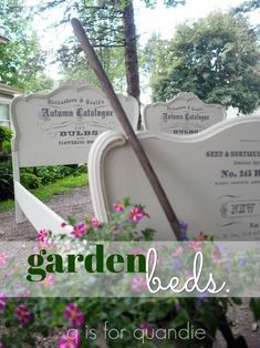 the garden beds, painted in Fusion's Limestone with Prima Marketing IOD transfers. – q is for quandie Upcycled Furniture, Painted Furniture, Refinished Furniture, Furniture Ideas, Garden Posts, Garden Beds, Iron Orchid Designs, Image Transfers, Prima Marketing