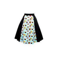 Hemet Women's Blue Cupcakes Skirt ($40) ❤ liked on Polyvore featuring skirts, blue knee length skirt and blue skirt