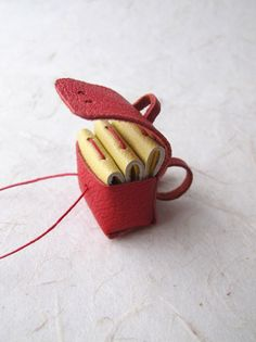 3 Miniature Leather Books & Leather Pouch/Backpack - Lust Red w/ Straw Silk paper - 120 pages