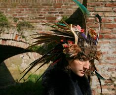 MADE TO ORDER  shaman headwear leather by ChimericalDragonfly