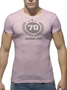 Addicted Varsity Round Neck T-Shirt pink