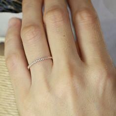 Petite Diamond Wedding Ring in 14k Rose Gold Half Eternity Band Women Wedding Band Diamond Anniversary Ring Stackable Ring $498