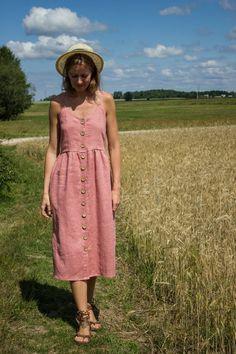 61ec8c0ac431c Pink Dress - Linen Dress - Summer Dress - Simple Linen Dress - Linen  Clothing - Women Dress - Beach Dress - Long Linen Dress