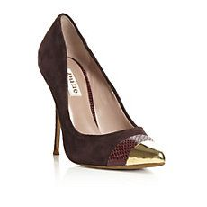BALMORAL - Burgundy #red and gold Double Toe Cap Court by Dune Shoes