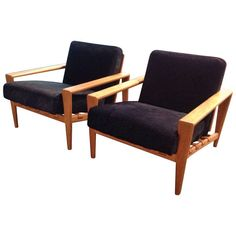 Pair of Oak and leather strapped upholstered Lounge Chairs by Svante Skogh, Sweden, Circa 1960's