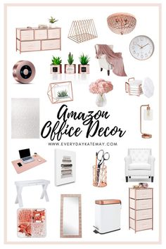 Its time to upgrade your office while working from home. Rose gold office decor is clean, sleak, and just want you need. Rose Gold Room Decor, Rose Gold Rooms, Study Room Decor, Cute Room Decor, Work Desk Decor, Bedroom Decor, Wall Decor, Cozy Home Office, Home Office Design
