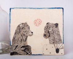 Tiger Cheetah Drawing Original Pencil par DoubleFoxStudio sur Etsy