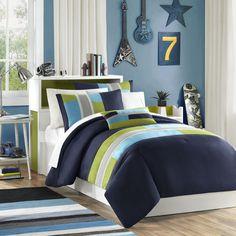 blue olive tan bedding, teen boy bedding, striped bedding, striped teen bedding