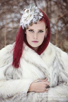 Vintage hair pieces by Savage Millinery in Buffalo, NY  Wedding Bridal Ivory White Feathers Fascinator cap fur coat in the snow Winter