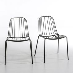 Set of 2 Bop Metal Chairs. This comfortable chair is light and airy with a bold look that's equally at home indoors and out. L 51 x D 54 x H 76 cm. Metal wire frame with epoxy finish. Small Living Room Chairs, Black Dining Room Chairs, Wayfair Living Room Chairs, Small Accent Chairs, White Chairs, Porch Chairs, Wrought Iron Patio Chairs, Metal Chairs, Outdoor Chairs