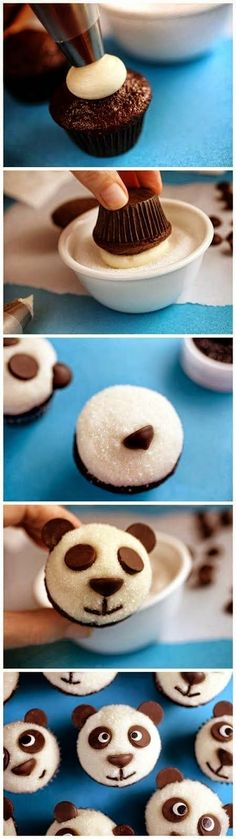 FÁCEIS PEQUENOS PANDAS NO CUPCAKE DE CHOCOLATE | EASY LITTLE PANDAS CHOCOLATE CUPCAKES