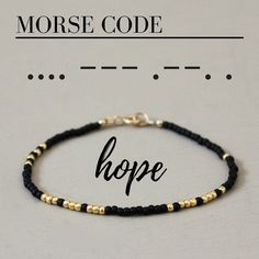 A fun and simple beaded #bracelet with the word HOPE written in Morse Code! Each glass seed bead is carefully hand strung. All metal components are 14K Gold fill. #GoldInvesting