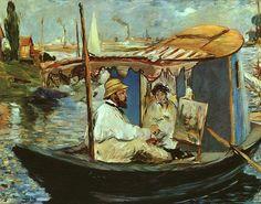 Monet in his Studio Boat, 1874 by Edouard Manet. Impressionism. genre painting. Neue Pinakothek, Munich, Germany