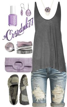 """Grey and Purple"" by crzrdnk77 on Polyvore"