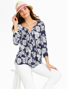 Talbots - Floral Woodcut Tunic Tee | Tees and Knits | Petites