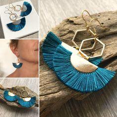 Boucles d'oreilles bohème chic avec pendentif éventail bleu Tassel Jewelry, Tassel Necklace, Diy Jewelry, Jewellery, Cement Jewelry, Brick Stitch, Diy Earrings, Bead Weaving, Tassels