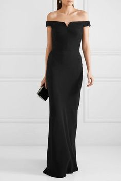 Alexander McQueen - Off-the-shoulder Crepe Gown - Black - IT42