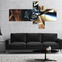 Designart 'Fractal 3D Tangled Center' Abstract Canvas Art Print