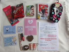 Break up survival kit - DVD, Comfy slippers, Facemask, Lip gloss, Nail file & polish, funny quotes, list of break up cliches and CHOCOLATE!
