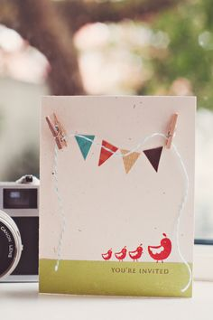 love the stamped banner and 3d clothespins and twine