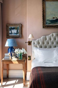 Buff pink bedroom in Pink Rooms & Pink Paint Ideas. Buff-pink linen in London bedroom with blue accents and headboard. Home Bedroom, Bedroom Decor, Bedroom Ideas, Garden Bedroom, Bedroom Interiors, Teen Bedroom, Bedroom Wall, Ideas Dormitorios, Interior Design Boards