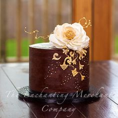 Elegant ganache with white/gold sugar peony  sugar cake jewels