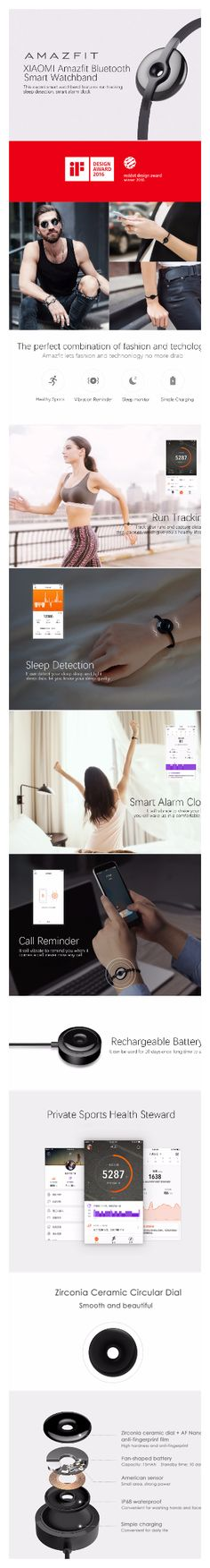 XIAOMI Amazfit Bluetooth inteligente correa - Negro $ 54.99 Este XIAOMI correa inteligente cuenta con el seguimiento de ejecución, la detección del sueño, despertador inteligente. Ser compatible con Bluetooth versión 4.0, Android (OS 4.4 o superior); para iPhone (iOS 7.0 o superior), vale la pena para usted comprar este correa de reloj inteligente de alta calidad. Cool Technology, Ios, Bluetooth, Android, Iphone, Shopping, Design, Black, Design Comics
