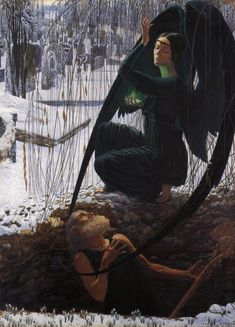 History of Modern Art: Symbolism  - Carlos Schwabe - The Death of the Grave Digger