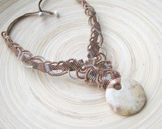 Fossilized coral macrame necklace, sand color necklace, micro macrame, boho necklace, delicate necklace, natural stone necklace, ochre color