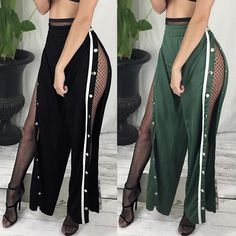 Shirring Waist Side Split Buttoned Wide Leg Pants