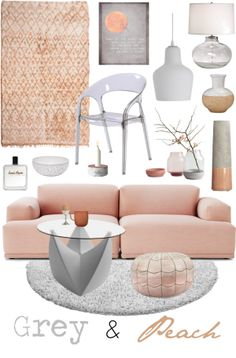 """Grey & Peach"" by ladomna on Polyvore"