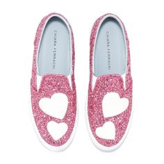 Pink glitter slip-on embroided with white leather hearts appliqués. light blue leather lining and insole. made in italy.
