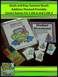 Summer Beach Addition Printable Center Games For 1.OA.6 and 2.OA.2 #TPT $Paid #FernSmithsClassroomIdeas