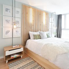 Inspired by the designer the owners have made the headboard themselves Master Bedroom Interior, Modern Bedroom Design, Home Bedroom, Bedroom Decor, New Room, Interior Design, Lattes, Aide, Furniture