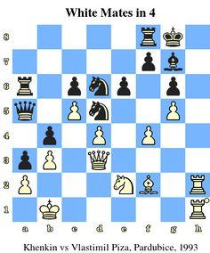 White Mates in 4. Khenkin vs Vlastimil Piza, Pardubice, 1993 www.chess-and-strategy.com #echecs #chess #strategie #quiz
