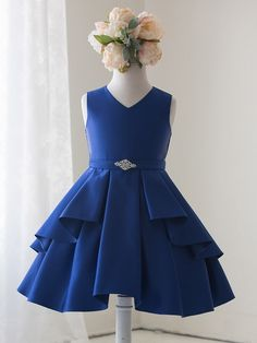 Stunning new arrivals for fancy holiday gatherings featuring diagonal ruffles, rhinestone brooch, tie back satin sash, crinoline layer and full lining, Knee length ‪ Frocks For Girls, Little Dresses, Little Girl Dresses, Cute Dresses, Girls Dresses, Flower Girl Dresses, 50s Dresses, Elegant Dresses, Little Girl Fashion