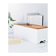 IKEA - KVISSLE, Cable management box, Charge your devices and hide the chargers and cords under the lid.Hole for cords in the lid and on the short sides.Raised base with vents to let heat escape.