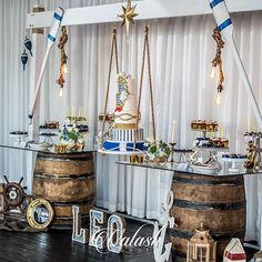 OBSESSED is not the word!! How perfect is this Nautical theme baby shower welcoming Baby Leo! This party came together in 4 days & I couldn't be happier with the Outcome! Structure by @elfren | Barrel Tables By @decora_event_rentals |Custom Lights & Small Props By Us | Cake Perfection  by @etcakes | Florals by @avantgardensmia | Sweets by @_bakedwithlove_ @dejavusweets @sugarloafbrigaderia @3menandalilladysweets #Nautical #BabyShower #ValashEvents #BrizaOnTheBay #BabyBoy #BabyLeo 📸 by…