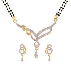White mangalsutra set with earring