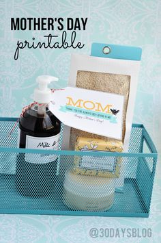 """Simple gift idea to pamper mom for Mother's Day-- a spa gift basic with cute printable! """"Thanks for always bee-lieving in me!"""""""